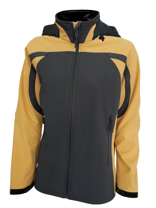 Dámská softshellová bunda s kapucí (S-L) žlutá/šedá