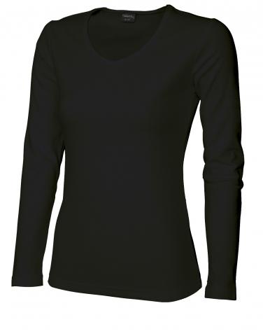 Dámské triko dlouhý rukáv V (S-XXL) černé