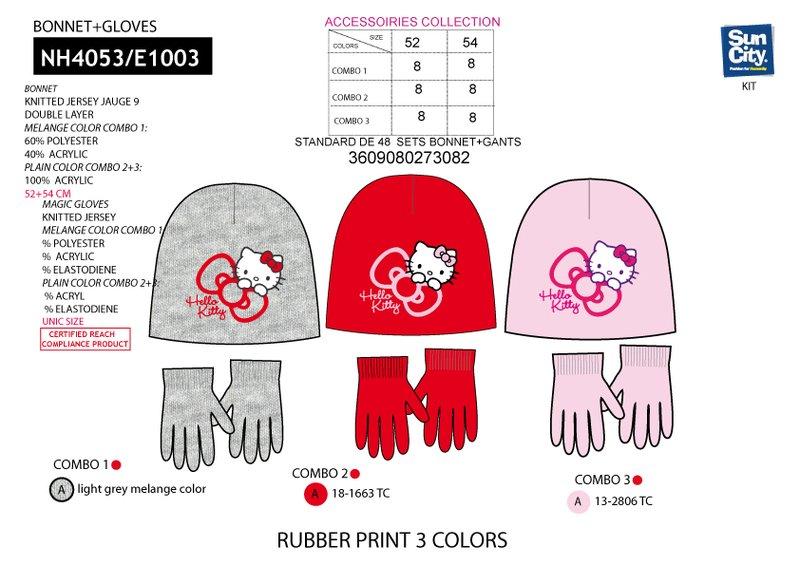 Zimní set (čepice+rukavice) HELLO KITTY  (52,54 )