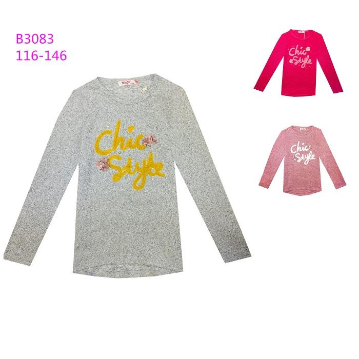 Dívčí triko s  dlouhým rukávem  KUGO (116-146)