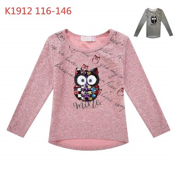 Dívčí triko s dlouhým rukávem a FLITRY KUGO (116-146)