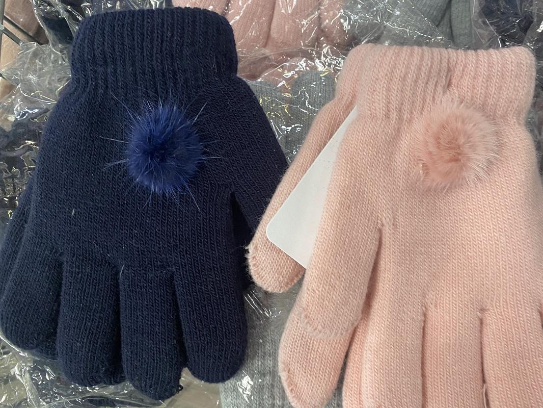Dívčí pletené prstové rukavice (14 cm)