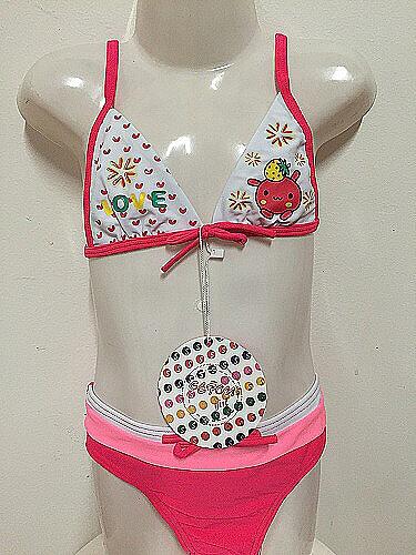 Dívčí dvoudíl.plavky SEFON (122-164) - růžovobílá