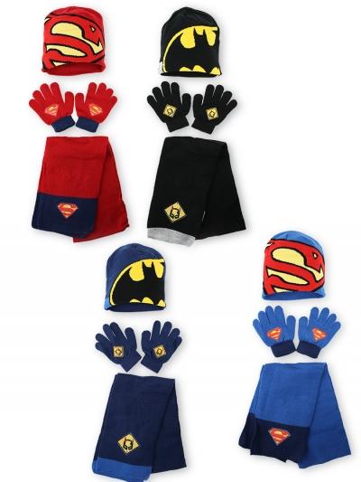 Chlapecká zimní souprava čepice + šála + rukavice BATMAN a SUPERMAN (vel. UNI)