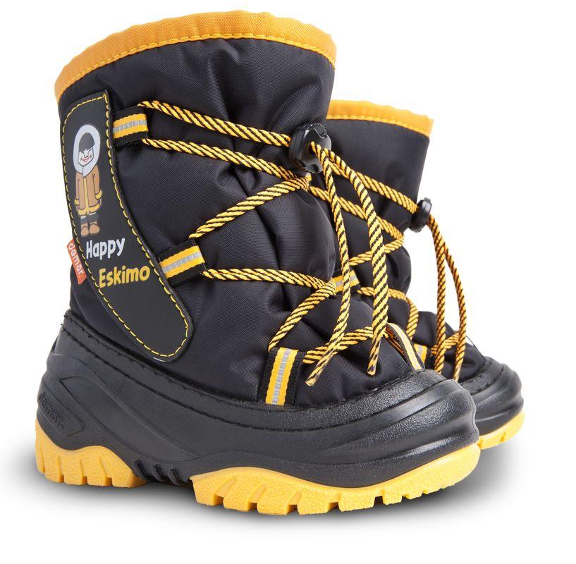 Dětské zimní sněhule DEMAR (20-29) černo-žluté