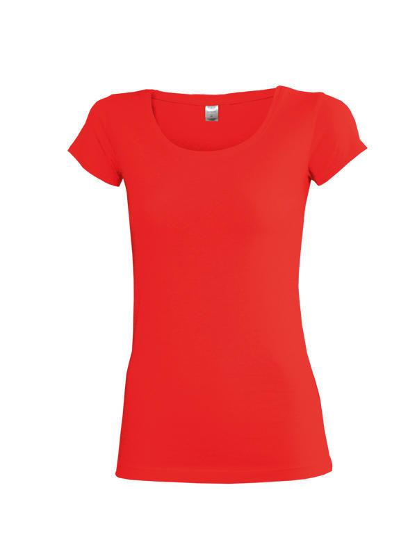 Dámské triko krátký rukáv U (S-XXL) červené