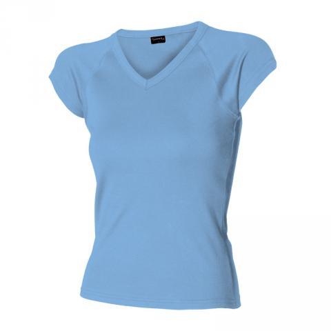 Dámské triko krátký raglán. rukáv V (S-XL) světle modré
