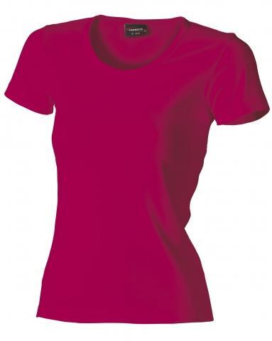 Dámské triko krátký rukáv U (S-XXL) tmavě růžové