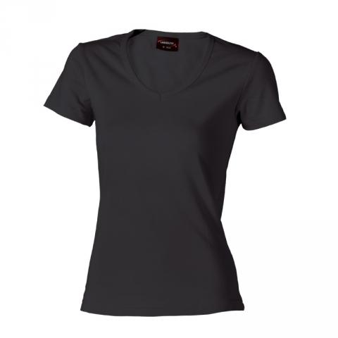 Dámské triko krátký rukáv V (S-XXL) černé