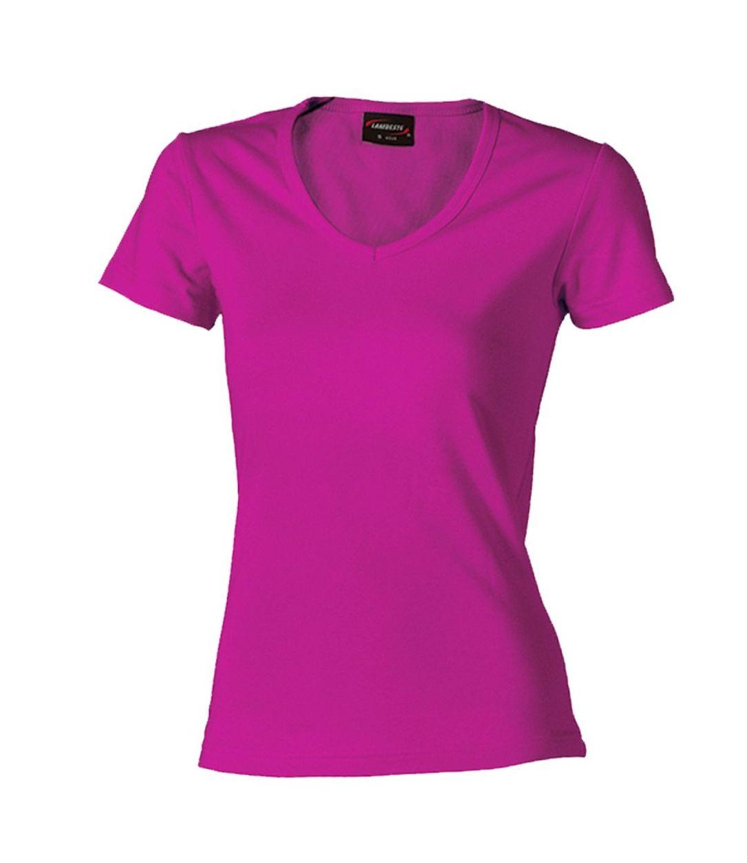 Dámské triko krátký rukáv V (S-XXL) tmavě růžové