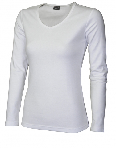 Dámské triko dlouhý rukáv V (S-XXL) bílé