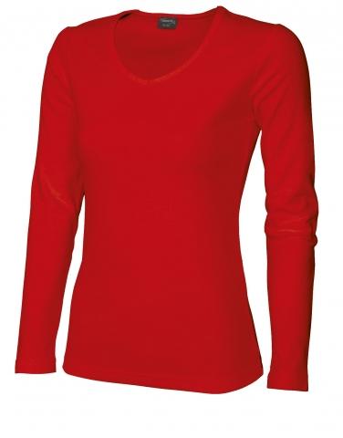 Dámské triko dlouhý rukáv V (S-XXL) červené