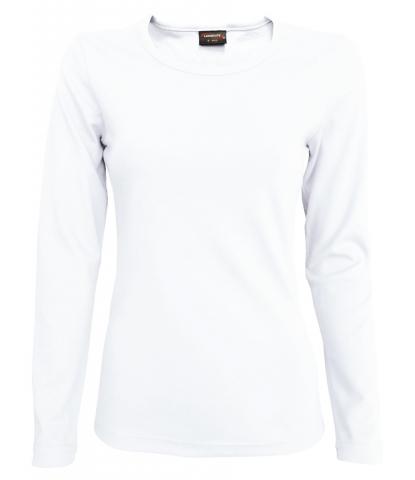 Dámské triko dlouhý rukáv U (S-XXL) bílé