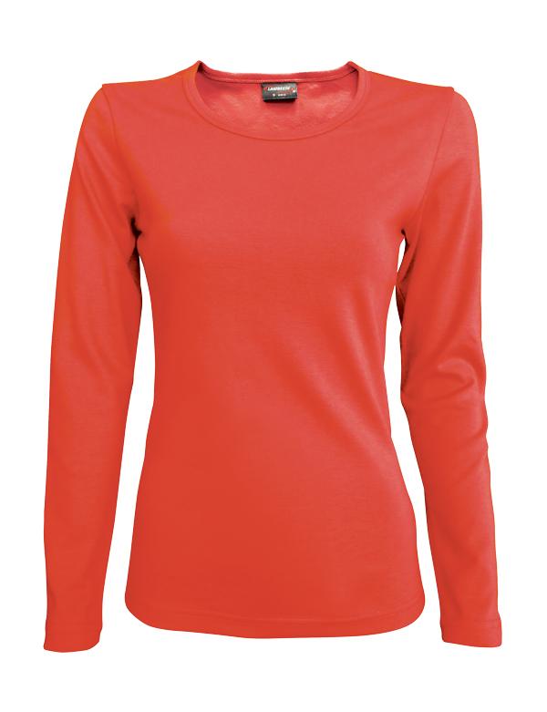 Dámské triko dlouhý rukáv U (S-XXL) oranžovočervené