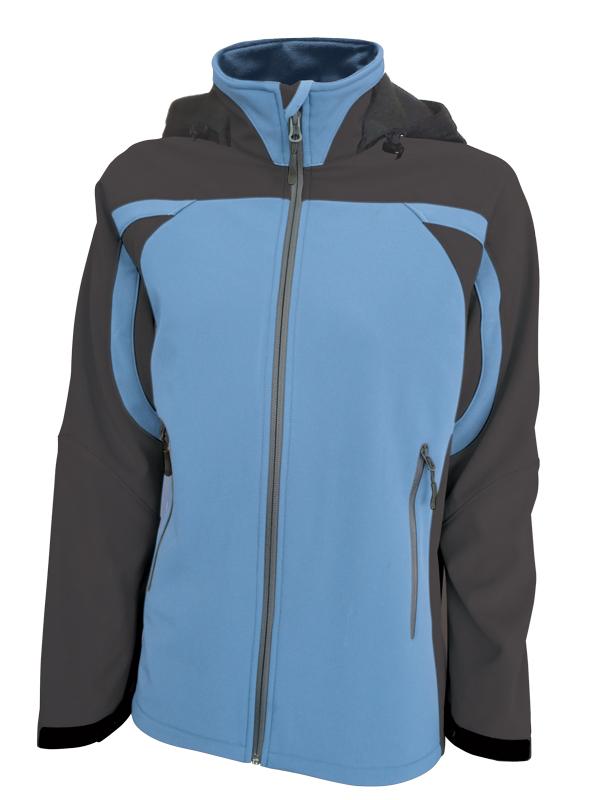 Dámská softshellová bunda s kapucí (S-XL) modrá/šedá