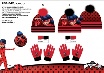 bde101b025f Dívčí zimní čepice + rukavice LADY BUG (vel. 54-56cm)