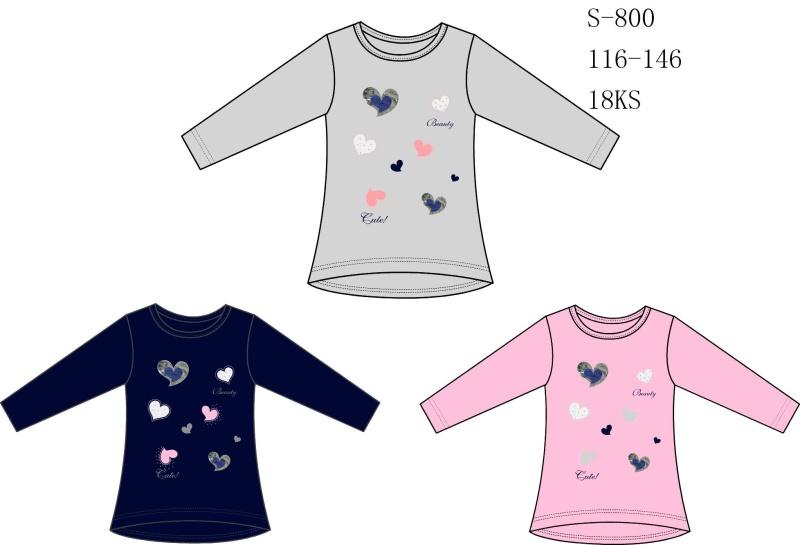 Dívčí triko s dlouhým rukávem SEZON (116-146)