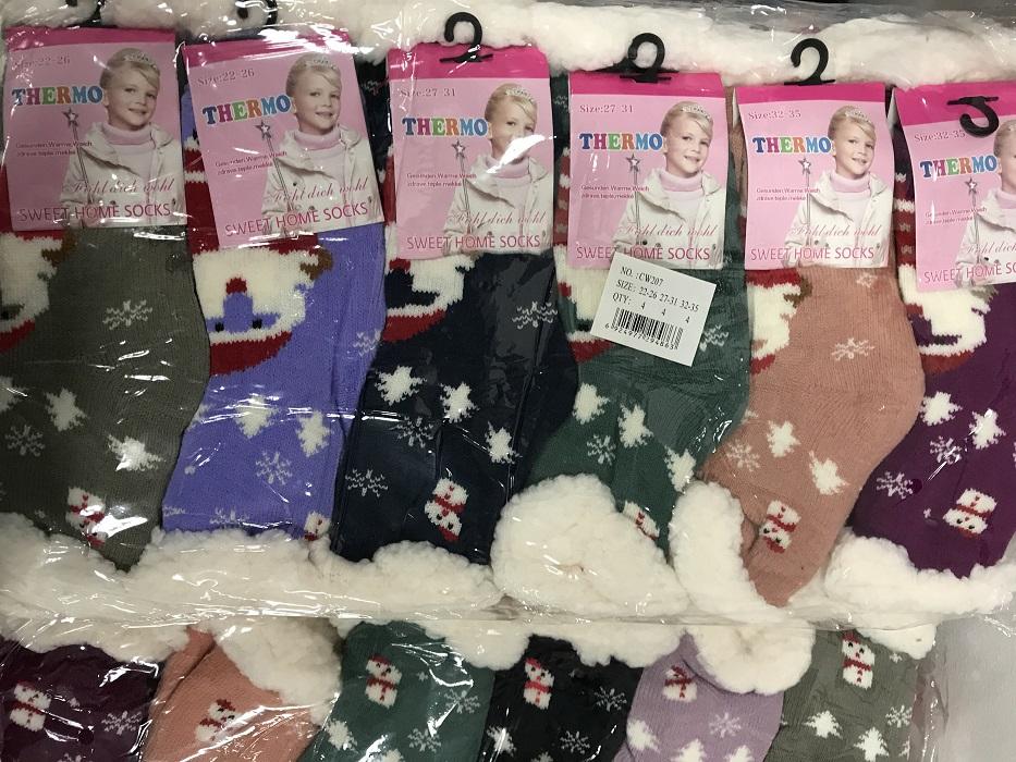 Dívčí  vánoční thermo bambusové ponožky / bačkory PESAIL (vel. 22-38)