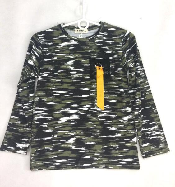 Chlapecké maskáčové triko s dlouhým rukávem  SEZON (134-164)