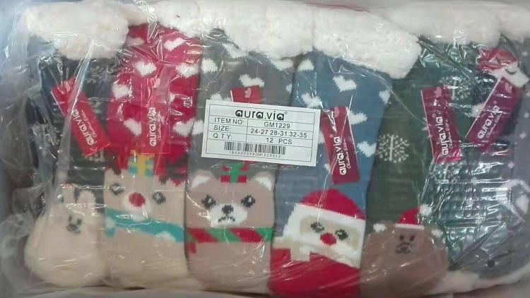 Dětské vánoční vyteplené ponožky / bačkory AURA.VIA (24/27-32/35)