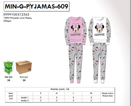 Dámské TEPLÉ  pyžamo MINNIE (XS-XL)