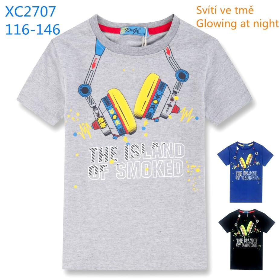 Chlapecké triko s krátkým rukávem (obrázek ve tmě svítí) KUGO (116-146)