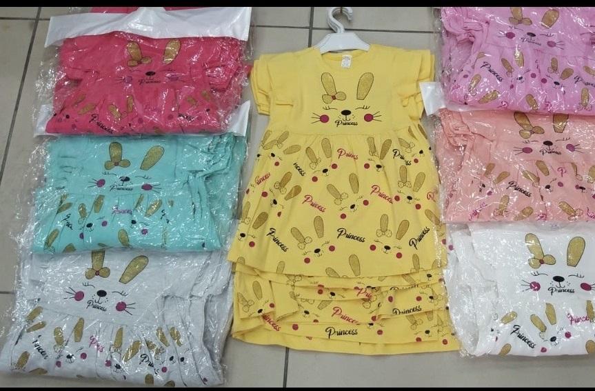 Dívčí letní obrázkové  šaty zajíc (1-5 let)