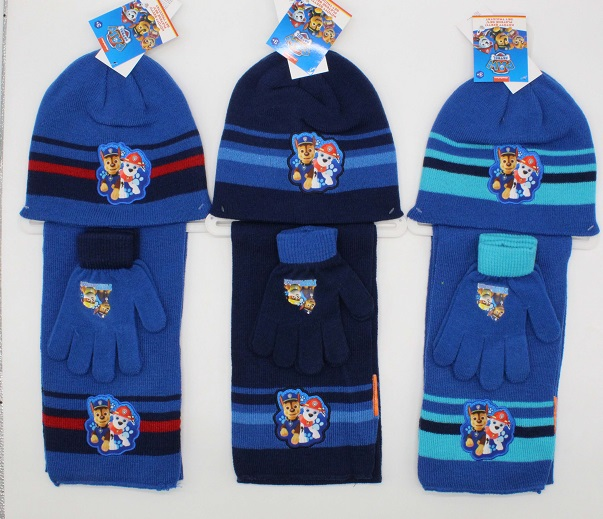 Chlapecká pletená souprava čepice,šála a prstových rukavic PAW (velikost UNI)