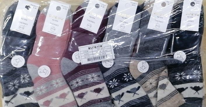 Dámské therno vlněné obrázkové ponožky AURA-VIA (35-41)