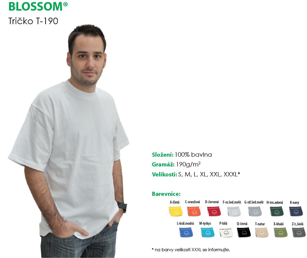 Pánské jednobarevné triko BLOSSOM (S-XXL)-modrá
